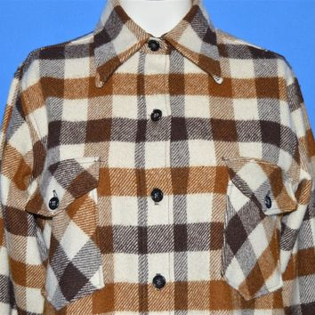 80s LL Bean Plaid Wool Button Down Women's shirt 10 - 12