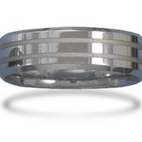 Tungsten Carbide Men's Ring with Alternating Finish Design
