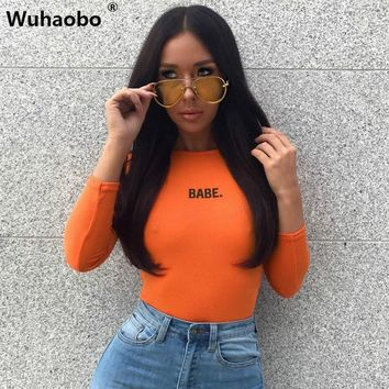 Wuhaobo BABE Letters Embroidery Cotton Bodysuit Women Autumn Winter Long Sleeve Skinny Women Rompers Casual Jumpsuit Bodysuit