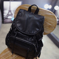Black Soft Leather Vintage Style Backpack