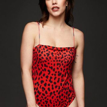 Red Bombshell Leopard One Piece
