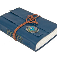 Navy Blue Leather Journal with Eye Cameo Bookmark - Ready To Ship -