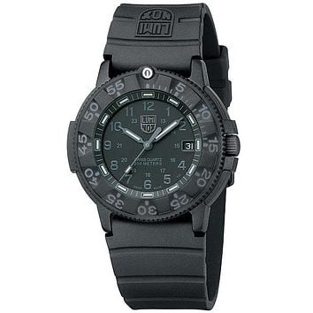 Luminox Mens Series 1 Navy SEAL Blackout Watch - Black Dial and Rubber Strap
