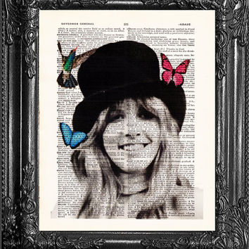 Stevie Nicks Art-Fleetwood Mac Art-Dictionary Print, Upcycled Antique Book Page, Vintage Upcycled Vintage Book Art