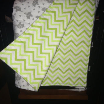 Reversible Elephants,Triangles/Green Chevron Flannel Baby Blanket/ Flannel Stroller Blanket/ Lightweight Blanket