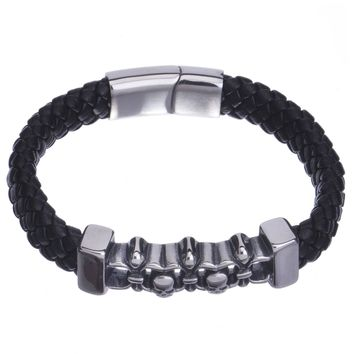 Jewelry Kay style Skull Charm Leather Braided Bracelet with Stainless Steel Magnetic Clasp SSB 912