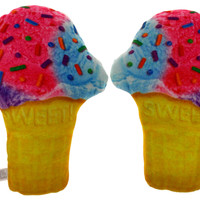 Set 2 Ice Cream Cone Pillow Food Fight Soft Realistic Sprinkles Plush Kids Decor