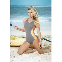 Mapale Sport Gray Tank Style One Piece Swimwear Swimsuit