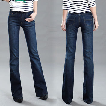 High Quality Women's Slim Mid Waist Boot Cut Jeans