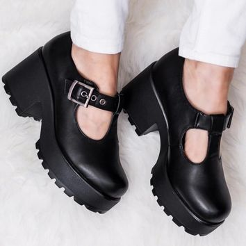 Buy CATTIE Heeled Cleated Sole Platform Ankle Boots Black Leather Style Online