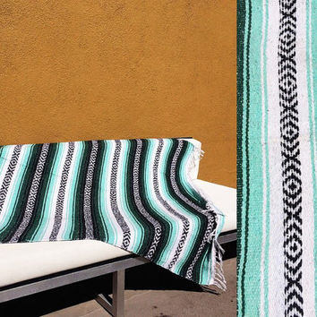 Handmade Serape striped Mexican blanket textile throw beach bed forest mint green Southwestern muted