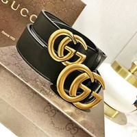 """""""Gucci"""" Women Fashion All-match Retro GG Letter Metal Needle Buckle Cow Leather Belt Genuine Leather Waistband"""