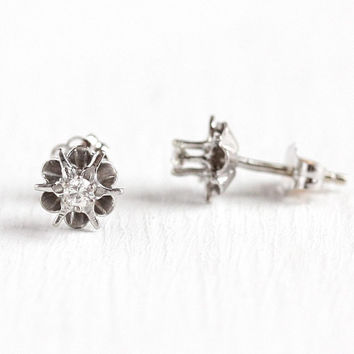 Vintage Diamond Earrings - 14k White Gold 1 10 CTW Fine Studs - Retro 1960 s 7f8810afc