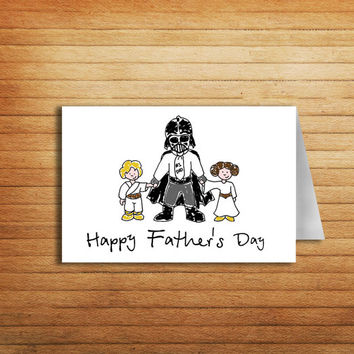 Darth Vader Father's Day Printable Card Star Wars Card Funny Father day card Luke Skywalker Princess Leia greeting card Father's Day gift