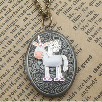 Steampunk  Flying Horse  Locket Necklace Vintage by sallydesign