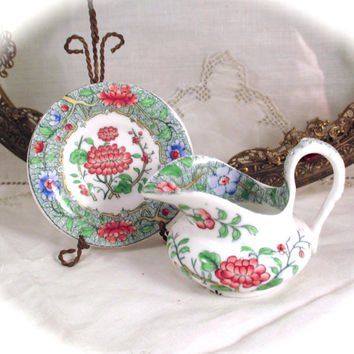 Antique FRENCH Soft-Paste PORCELAIN SET Creamer Pitcher Plate Leboeuf Millliet & Co. Feldspath Soft Paste Porcelain