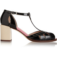 Fendi - Embossed matte and patent leather sandals