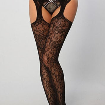The Gardenia Lace Suspender Tights
