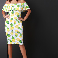 Pineapple Print Off The Shoulder Bodycon Dress