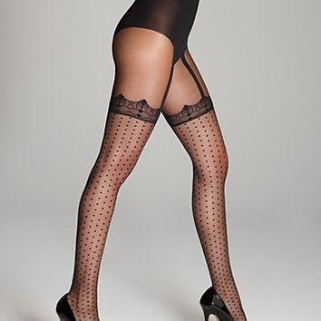 Pretty Polly Pretty Spotty Suspender Tights | Bloomingdale's
