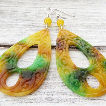 Yellow and orange earrings, carved jade earrings, large drop earrings, 925 sterling silver earrings, dangle earrings, summer jewelry, bijoux