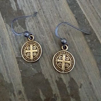 Antique Bronze St. Benedict Coin Oxidized Silver Earrings