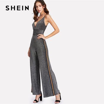 SHEIN Silver Tape Side Glitter Cami Jumpsuit 2018 Women High Waist Deep V Neck Spaghetti Strap Sleeveless Party Jumpsuit