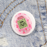 Pink Tamagotchi 1.25 Inch Pin Back Button Badge