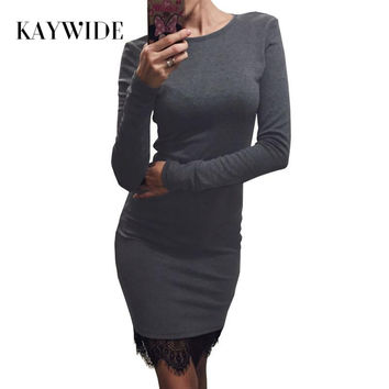Kaywide Lace Patchwork Women Dress O Neck Casual Bodycon Party dresses With Tassel  Plus Size Long Sleeve Ladis Dress Vestidos