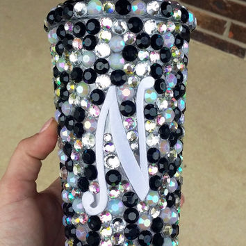 BLING Tumbler - Black/Crystal/AB/WhiteOpal