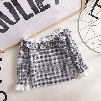Baby Girls Spring Autumn slash neck Children Plaid ruffles Shirt Clothes Kids Long Sleeve Casual blouses Clothing