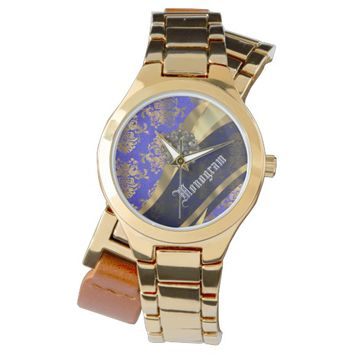 Blue and gold damask monogrammed wrist watch