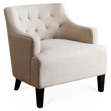 Ian Tufted Linen Chair, Cream, Accent U0026 Occasional Chairs