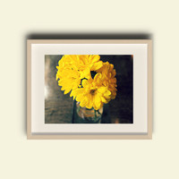 Still Life Flowers - FREE SHIPPING to USA fine art flower photography yellow petals autumn fall warmth flowers in vase macro photo