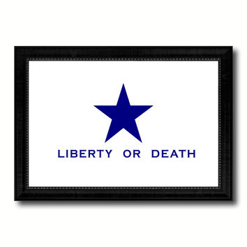 Liberty or Death Flag Goliad Texas Battle Independence Military Flag Canvas Print Black Picture Frame Gifts Home Decor Wall Art