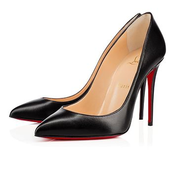 Best Online Sale Christian Louboutin Cl Pigalle Follies Black Leather 100mm Stiletto H