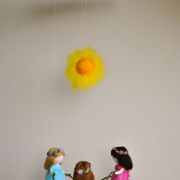 Waldorf inspired needle felted mobile: Summer Dancing