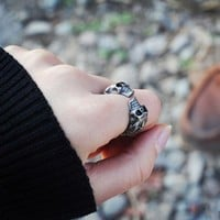DCCK6HW Personality Punk Wind Skull Head Retro Unisex Ring Couple Little Finger Ring Open Ring