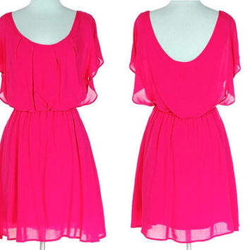 FUCHSIA Sundress -  Pink Day Dress- Scoop neck quarter sleeve Flowy Sundress -  FUCHSIA Casual dress - Small Medium Large S M L
