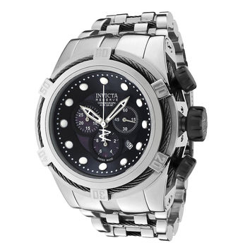 Invicta 0821 Men's Reserve Zeus Bolt Black Mother of Pearl Dial Stainless Steel Chronograph Dive Watch