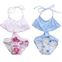 2017 Kids Toddler Girls Bikini Swimwear Floral Swimming Bathing Suit Gilrs Swimsuit Beachwear Badpak Beach Summer Biquini 2-7Y