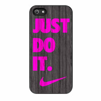 Nike Just Do It Wood Colored Darkwood Wooden Pink iPhone 5 Case