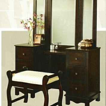 3 pc Espresso finish wood large size bedroom make up vanity set with tri - fold mirror and bench