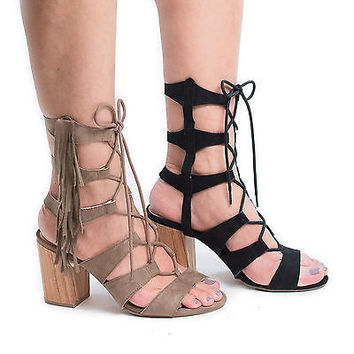 Susie08 Taupe F-Suede by Wild Diva, Open Toe Gladiator Fringe Lace Up Block High Heel Sandals