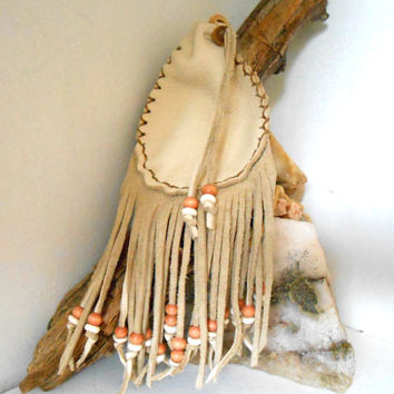 Medicine Bag with Fringe, Medicine Pouch, Amulet Bag with Bone and Wood Beads, Handmade, Native American, Powwow, Mountain Man, Hippie, Boho