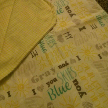 """Yellow, turquoise, and gray """"You are my sunshine"""" flannel reversible, receiving blanket"""