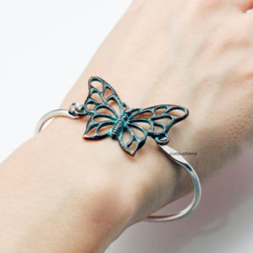 Retro Butterfly Bracelet (snap clasp) / Antique Style Unique Bangle / Butterfly Bracelet /Butterfly Wrap Bracelet /  Women's Jewelry