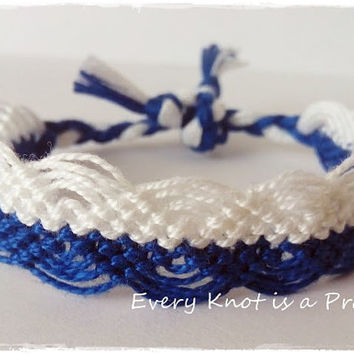 Blue and White Macrame Knotted Friendship Bracelet