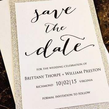 Glitter Wedding Save the Date; Silver Glitter Save the Date; BRITTANY version