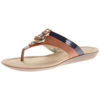 Bandolino Womens Janette Faux Leather Flat Thong Sandals